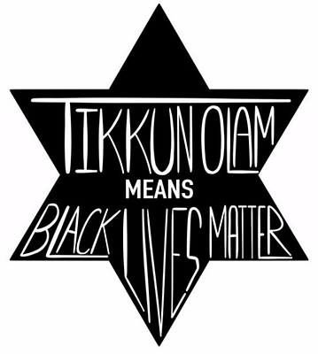 Tikkun Olam means Black Lives Matter: Black star with white text created by Adam Garvey